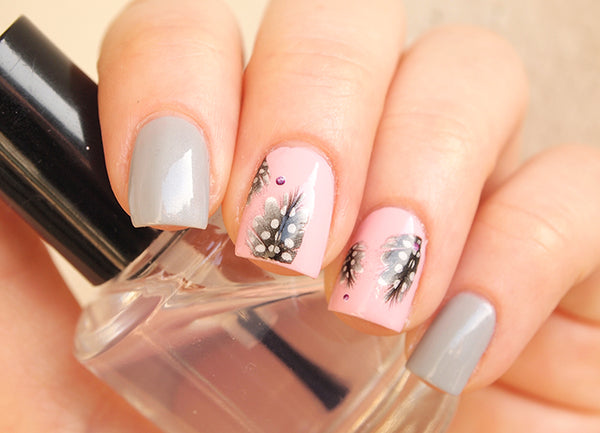 feather nails, gray feather nail art, feather nail sticker