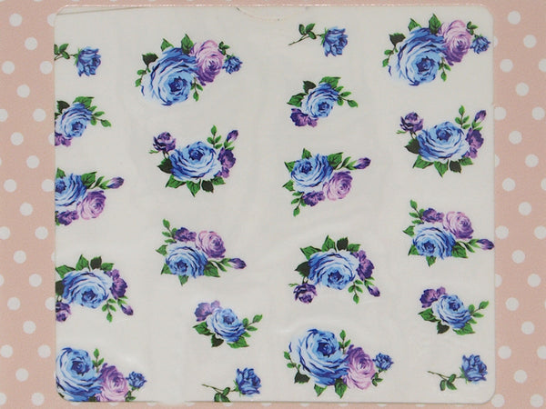 blue rose nail decals