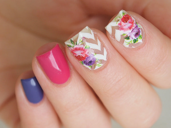 pink and purple floral nail decals