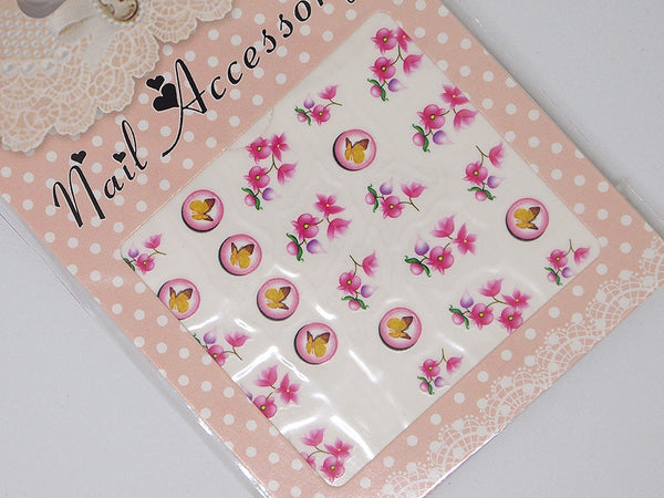 pink orchid and butterflies nail decals