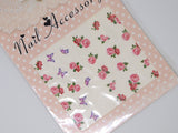 pink roses and butterflies nail decals