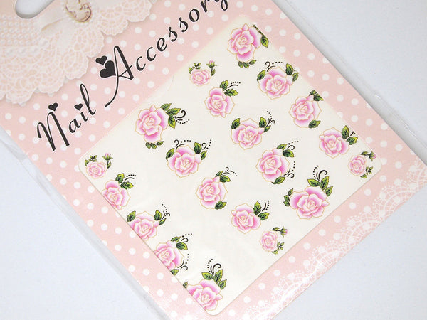 pink rose nail decals, floral nail stickers
