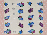 blue and purple rose nail decals