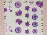 purple floral nail stickers