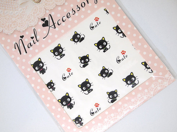 cat nail decals, kitten nail stickers, kitty nail decals