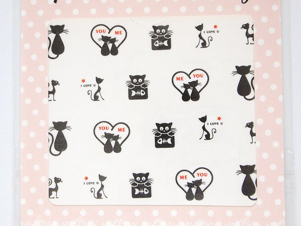 valentines day cat nail decals, love cat nail stickers
