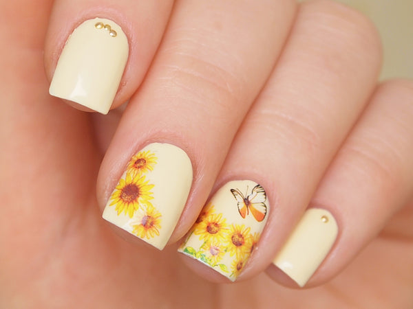 sunflower nail sticker, sunflower nails, nail art supply