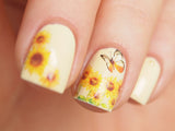 sunflower nail decor, sunflower nail water decal, summer nail art