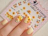 sunflower nail decals, sunflower nail art, sunflower nails
