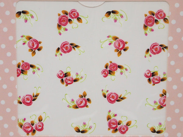 pink rose nail water decals