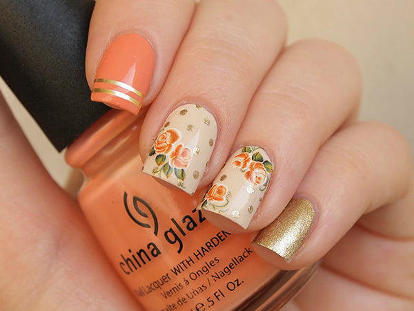 Rusty orange rose nail decals