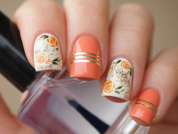 orange rose nails, floral nails