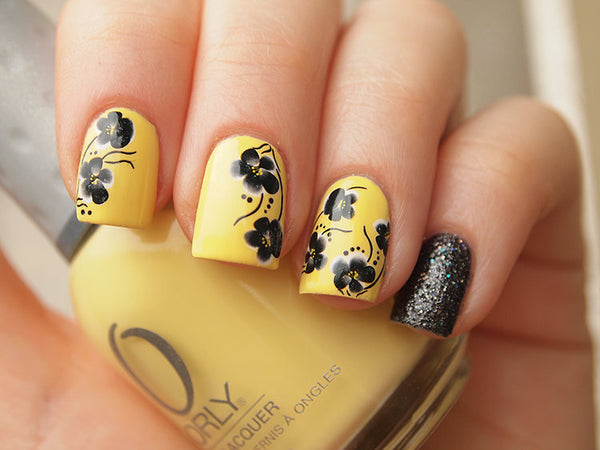 Black pansy nail water decals