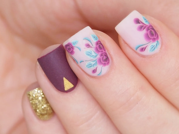 purple flowes nail decals, floral nail stickers, nail art supply