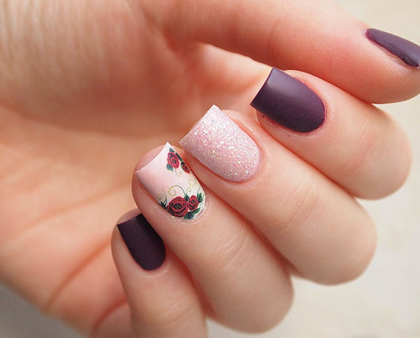 Deep Burgundy Rose Nail Water Decals La Paloma Boutique