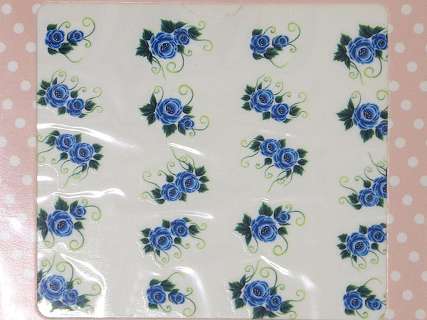 blue floral nail decals, blue rose nail decals