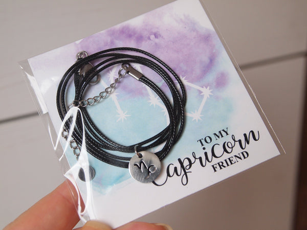 capricorn cord choker for gifting, capricorn sign necklace