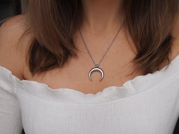 silver double horn necklace, crescent moon necklace