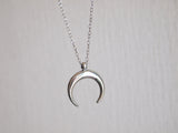 double horn stainless steel necklace, silver moon necklace