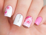 pink rose nail water decals, floral nail sticker, floral nail design