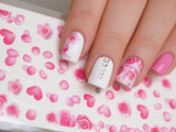 floral nail sticker, floral nail decal, pink nails, rose nail design