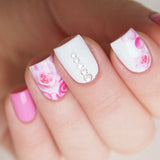 Pink ombre roses and petals nail decals