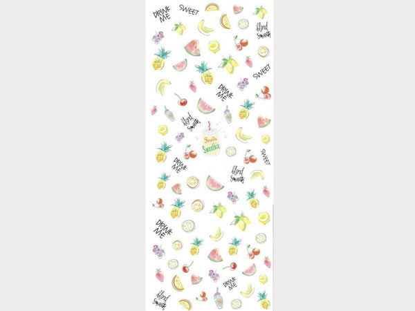 watercolor fruits nail stickers, pineapple nail decals
