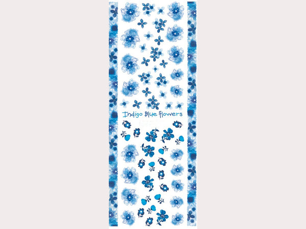 indigo blue flowers nail decals, floral nail stickers, floral nail decals