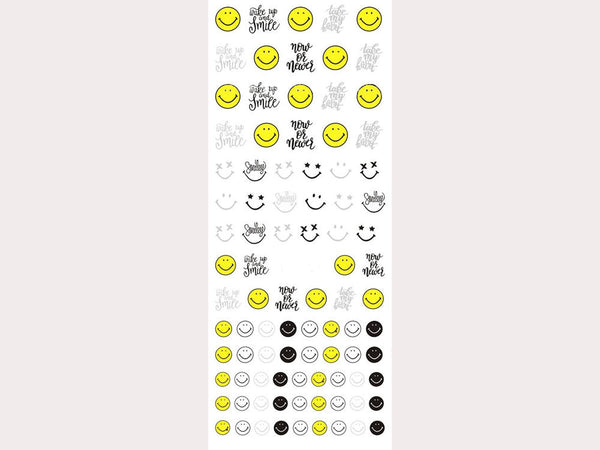 emoji nail stickers, emoji nail decals, smiling faces decals