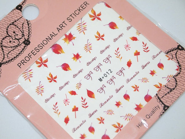 fall leaves nail decals, autumn nail stickers