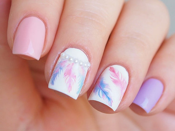 feather nail decals, feather stickers, pastel nais