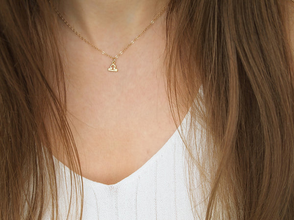 gold libra zodiac sign necklace, astro sign choker