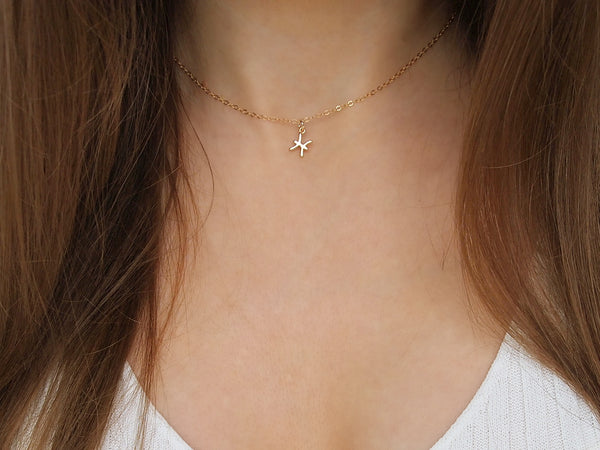 simple pisces charm necklace, 14k gold filled chain