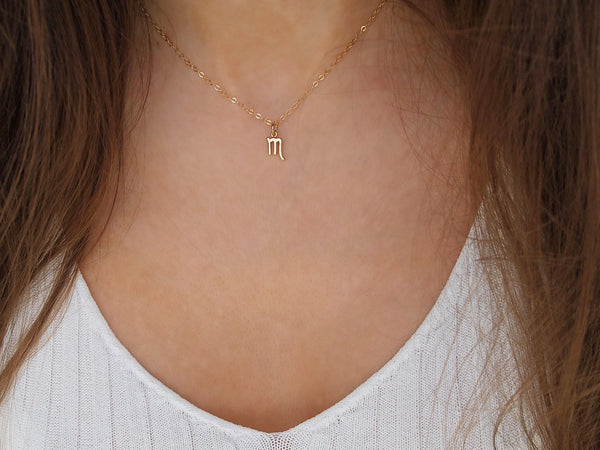 gold scorpio charm necklace, 14k gold filled chain