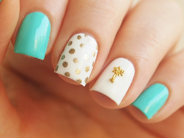 tropical nails with palm tree nail charm
