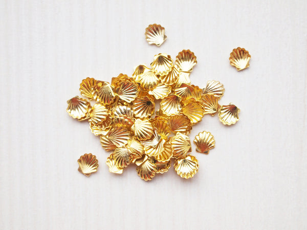 gold seashell nail charms, 5mm, nail jewelry