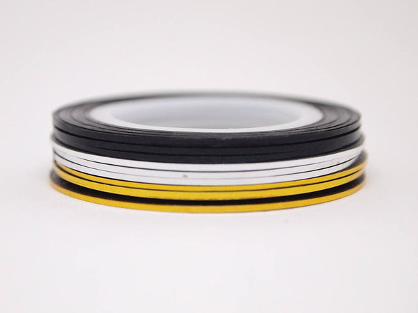 nail striping tape, 1mm wide, gold silver and black colors
