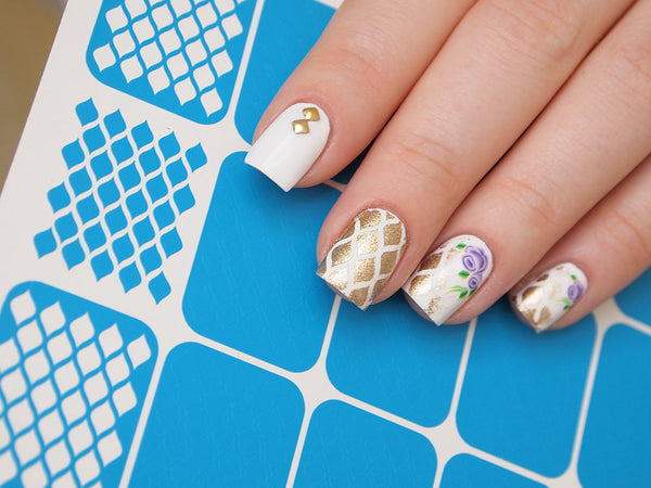 fishnet nail stencils, vinyls for nail art
