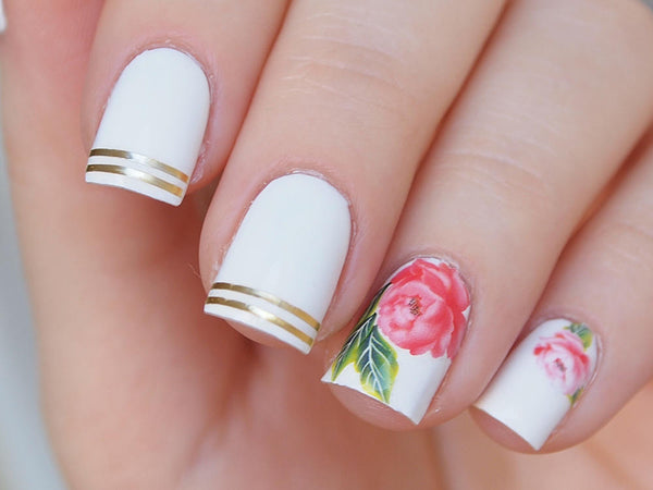 pink peony nails, white floral nails