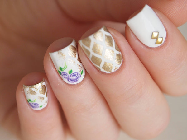 floral nail design, white nails, rose nails