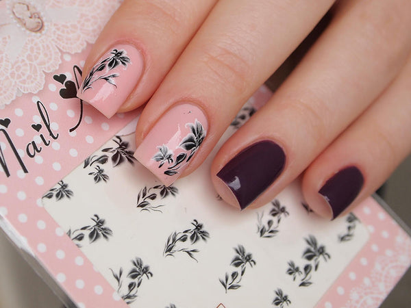 black floral nail art, floral nail stickers