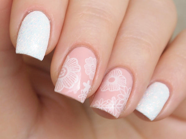 white lace nail art, white lace nails