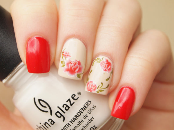 Red rose floral nail decals