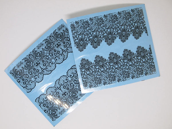 lace nail wraps, black lace nail stickers