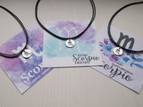 scorpio sign cord chokers, scorpio charm necklace