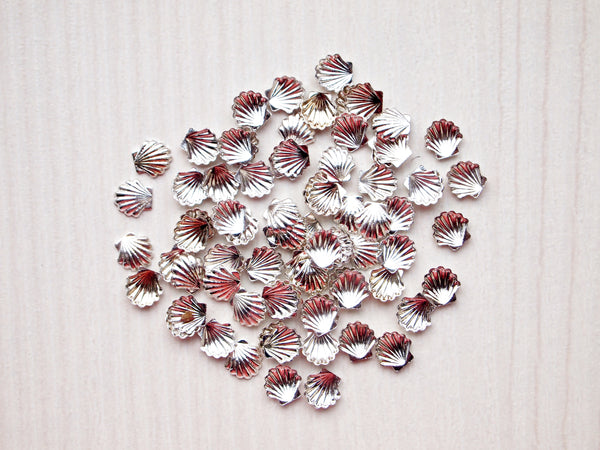 silver seashell nail charms, 5mm, nail jewelry