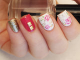 floral nail art using gold textured nail studs