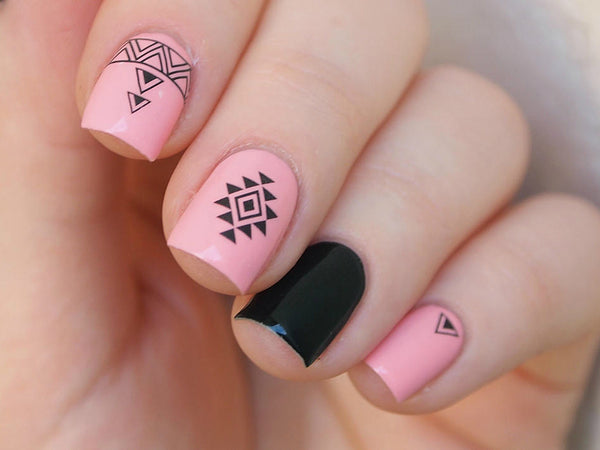 aztec nails, tribal nail art