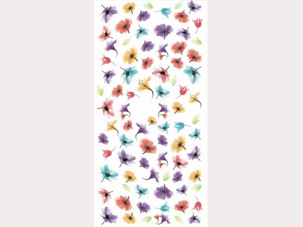 semi-transparent floral nail decals, nageldesign