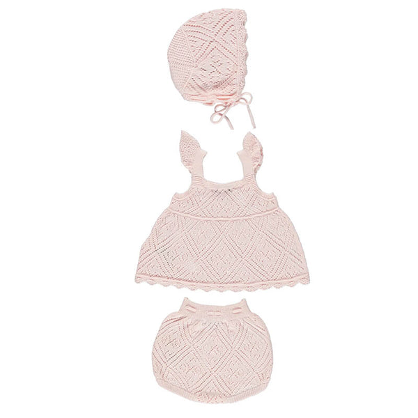 Baby Top, Bloomer And Hat Suit